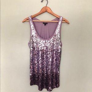 Express   NYE Shiny Sparky Purple Ombré Tank Top